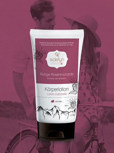 Lotion corporelle avec du petit-lait Monarde rose apaisante de Sidefyn Cosmetics