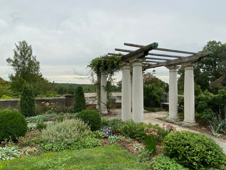 The pergola on the Main Lawn has views over the adjacent South Mountain Reservation.