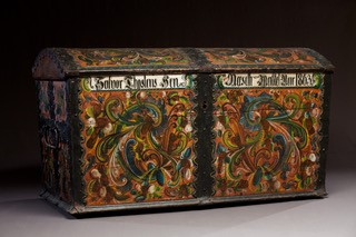 Trunk painted by Thomas Luraas, 1863. Vesterheim Museum Collection--Gift of Telemark Museum