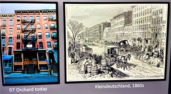 """When the Moore family arrived from Ireland in the 1860s, the Lower East Side was known as Kleindeutschland, or """"Little Germany."""" This screenshot from an online tour also shows 97 Orchard Street today."""