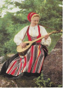 Girl in Traditional Leksand Costume, Reproduction of 1904 postcard