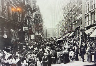 New York's Lower East Side, shown in an early 1900s photos in this screenshot from an online tour, was one of the world's most densely populated areas at that time.