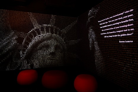 At the AMW, an animated projection onto a vinyl backboard creates a changing cascade of words called a Word Waterfall. Credit: American Writers Museum