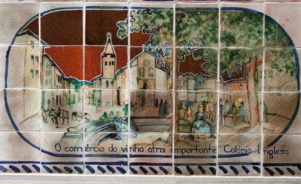 Ceramic Tile panel of Madeira wine industry. Monte Tropical Garden, Funchal, Madeira