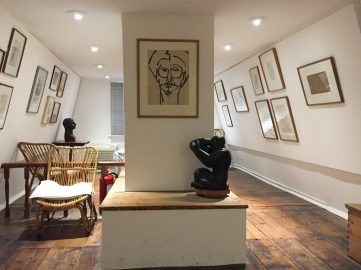 Drawings and sculptures by Henri Gaudier-Brzeska, whom Jim Ede wrote a book about, in the Attic.