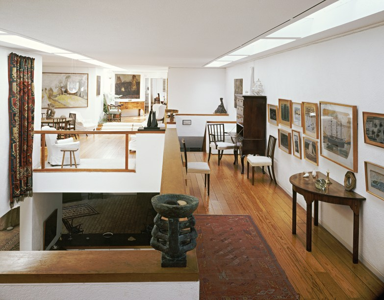 View of the 1970 extension with works by Alfred Wallis on the right. Photo courtesy of Kettle's Yard, University of Cambridge