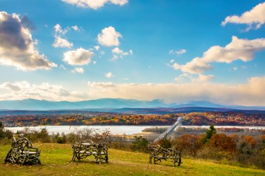 The view of the Catskill Mountains and Hudson River from Ridge Road is spectacular in fall. Photo © Beth Schneck Photography, bschneckphoto.com. Courtesy Olana State Historic Site
