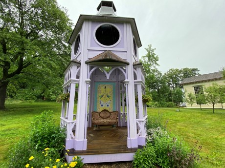 """Part of """"Cross Pollination,"""" Mark Dion's and Dana Sherwood's interactive The Pollinator Pavilion was planted to attract hummingbirds and other pollinators."""