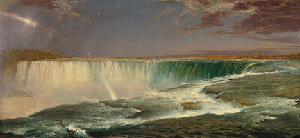 Frederic Church's enormous, panoramic Niagara (1857; now in the National Gallery of Art) earned the artist acclaim from critics and the public. He charged each viewer 25 cents, and the painting toured cities along the East Coast. Corcoran Collection (Museum Purchase, Gallery Fund). Courtesy National Gallery of Art, Washington.