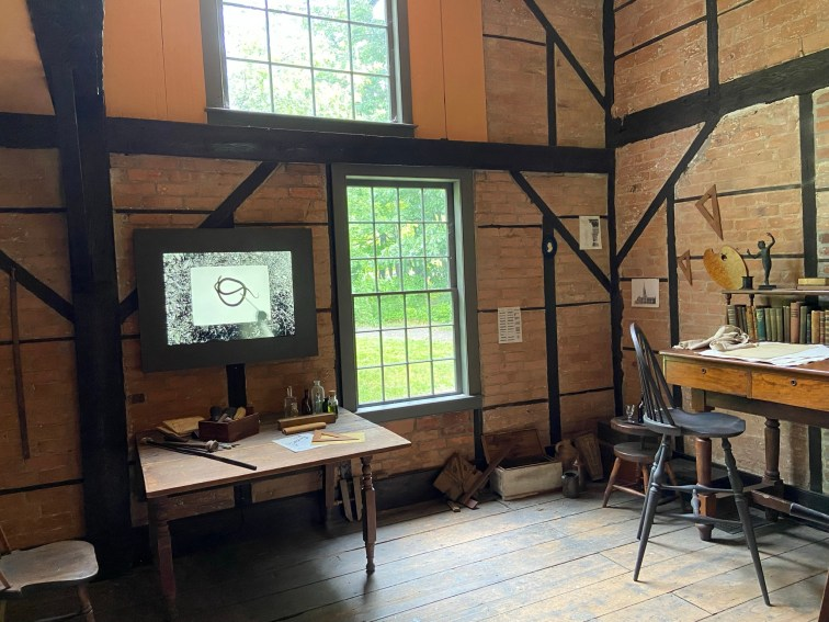 """The Old Studio includes items Cole used and shows how he worked. On display here as part of """"Cross Pollination"""" is Jeff Whetstone's digital work, Drawing E. obsoleta."""