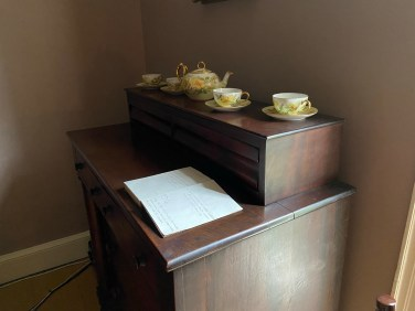 Thomas and Maria Cole's bedroom contains a tea set hand painted by their daughter Emily Cole.