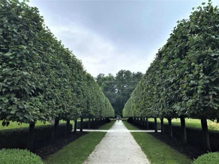 The Lime Walk, with its pleached linden trees, links the Italian Garden and French Flower Garden.