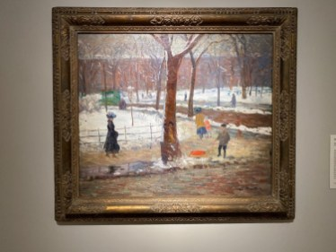 The NBMAA is well known for its collection of paintings by artists of the Ashcan School. Washington Square, from 1910, is a wintry scene by William Glackens.