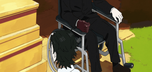 Hoshi next to guy on a wheelchair