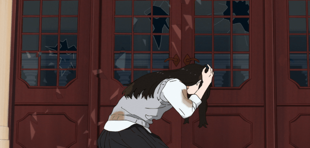 Mizuho getting hit with glass