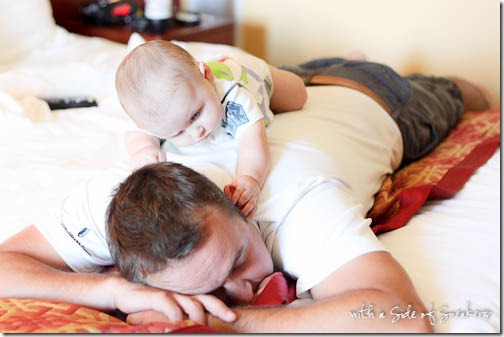 daddy and son playing