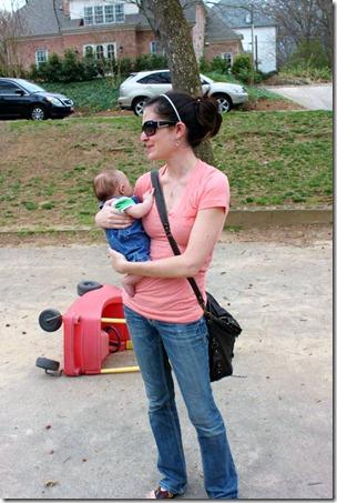 mom & k at park