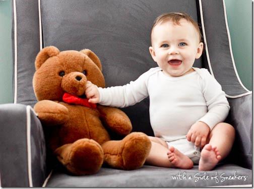 baby boy and his teddy bear