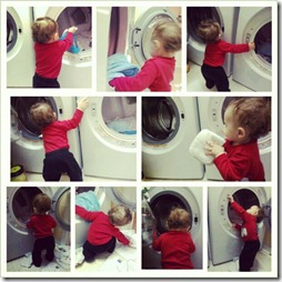 baby helping with laundry