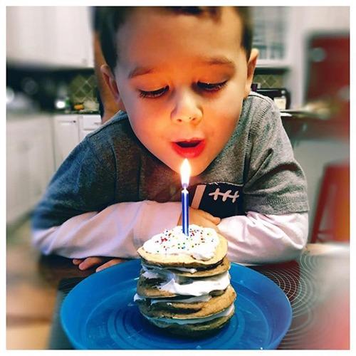 fourth birthday pancakes