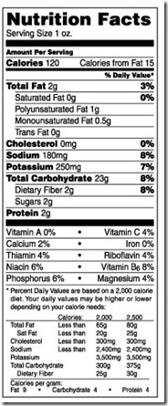 baked lays nutrition label