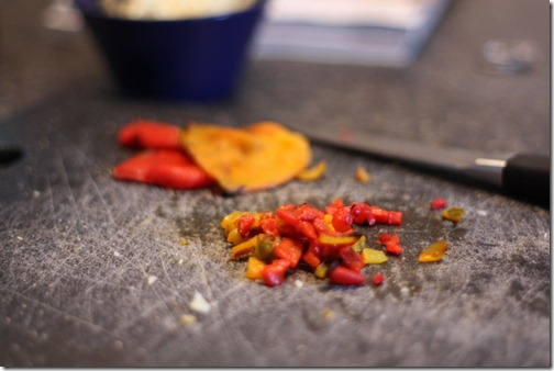 diced roasted peppers