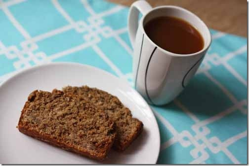 vegan banana breads with coffee