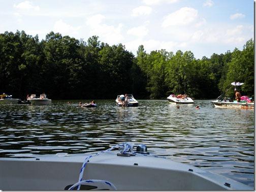 boats gathering on lake