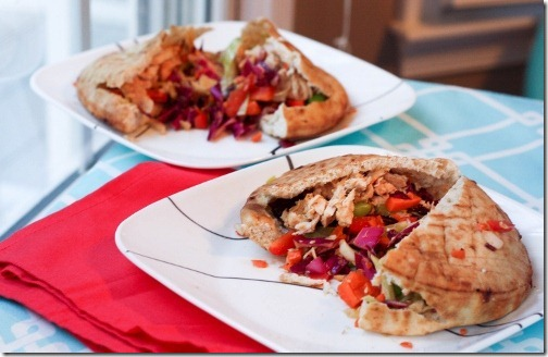 chicken and slaw stuffed pitas