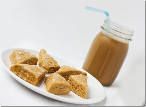 pumpkin scones with iced coffee