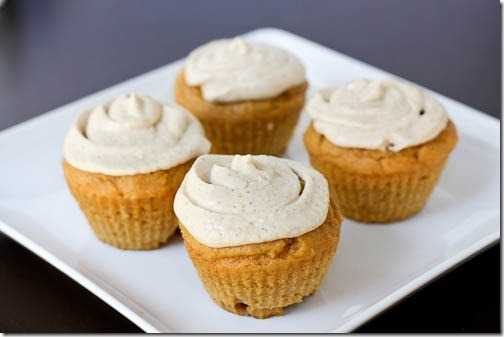 pumpkin spice cupcakes with cream cheese icing