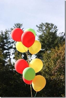 red yellow green balloons