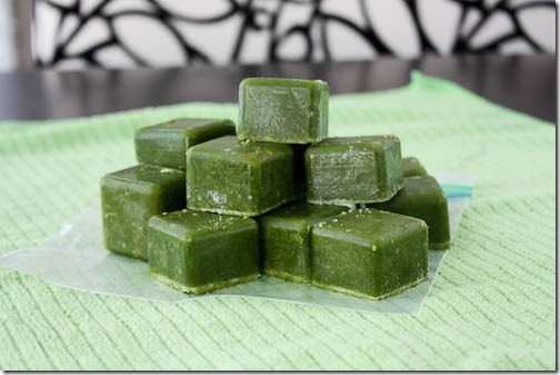green monsters ice cubes for easy smoothies