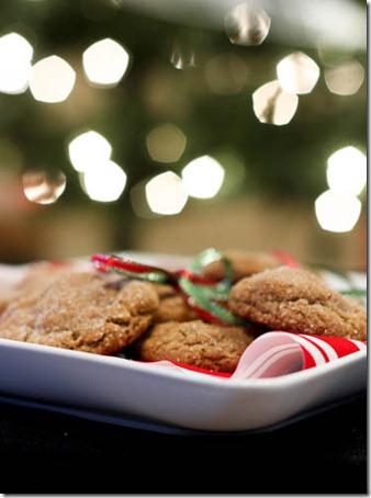 cookies in front of christmas tree