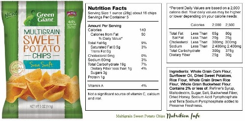 green giant sweet potato chips nutrition info