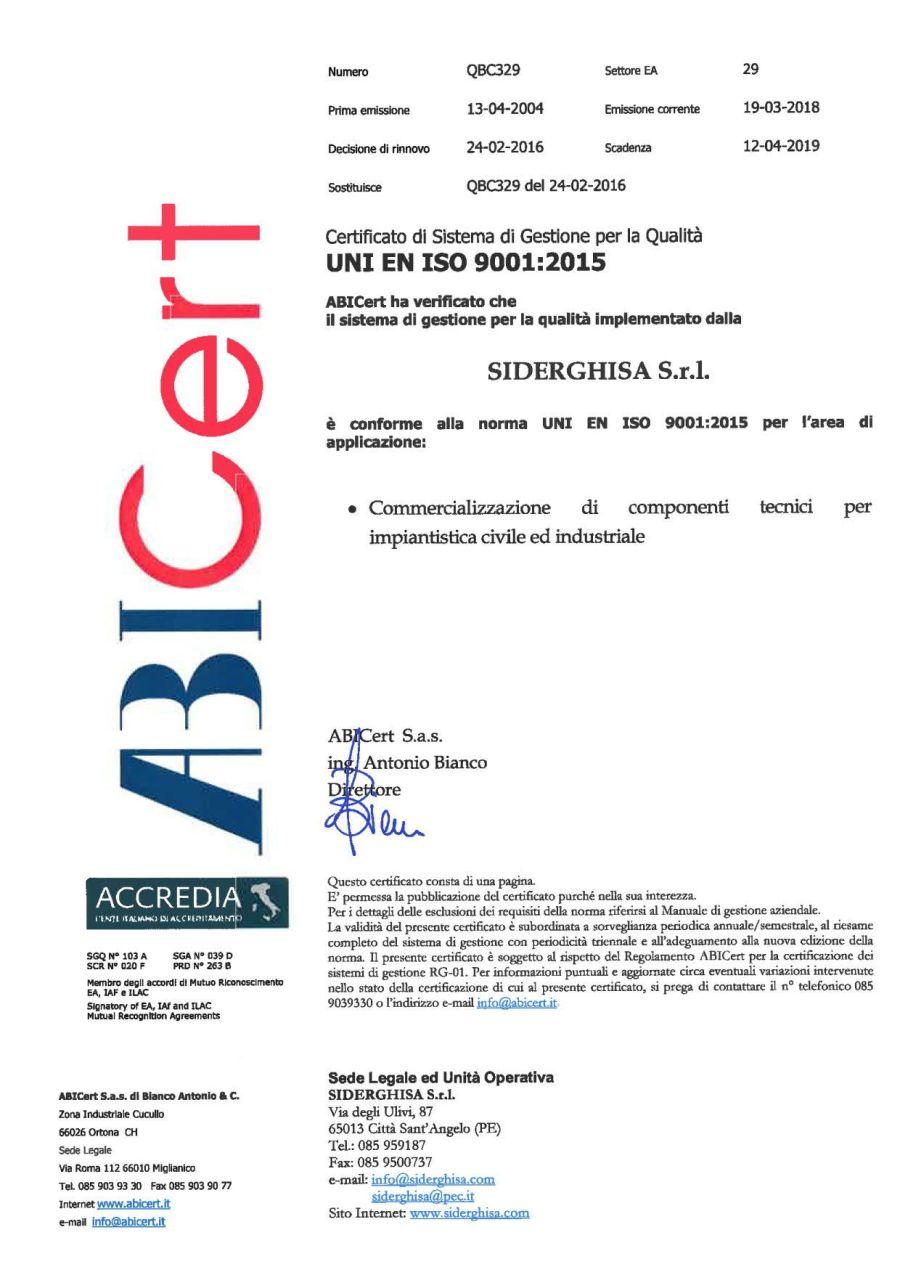 certificato qualità QBC329 SIDERGHISA