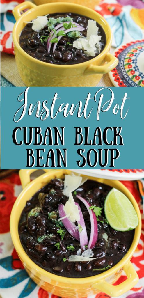 Instant Pot Cuban Black Bean Soup in a bowl