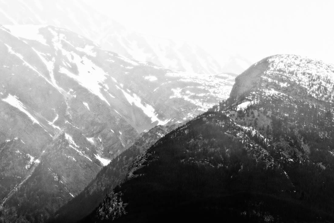 Black and white long lens image in Jasper National Park, Alberta landscape.