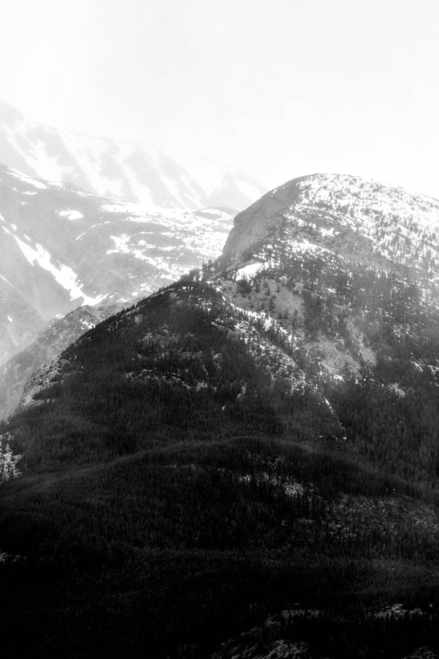 Black and white long lens image in Jasper National Park, Alberta landscape.