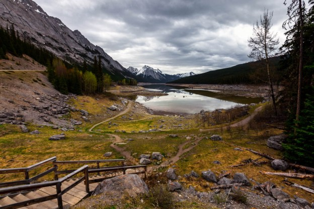 Medicine Lake, Jasper National Park, during an early morning rain, spring. Alberta landscape.