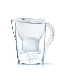 BRITA Wasserfilter Marella weiß inkl. 1 MAXTRA+ Filterkartusche – BRITA Filter zur Reduzierung von Kalk, Chlor & geschmacksstörenden Stoffen im Wasser - 1