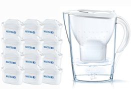 BRITA Wasserfilter Marella weiß inkl. 12 MAXTRA+ Filterkartuschen – BRITA Filter Jahrespaket zur Reduzierung von Kalk, Chlor & geschmacksstörenden Stoffen im Wasser - 1