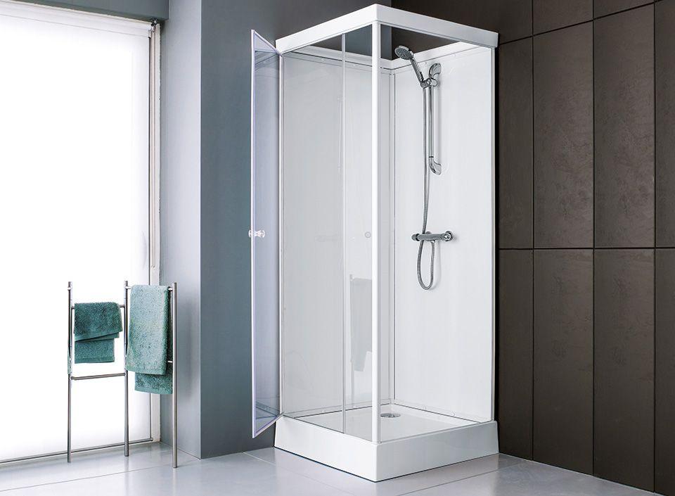 cabines parois de douche corail verre 80 x 80 cm leda