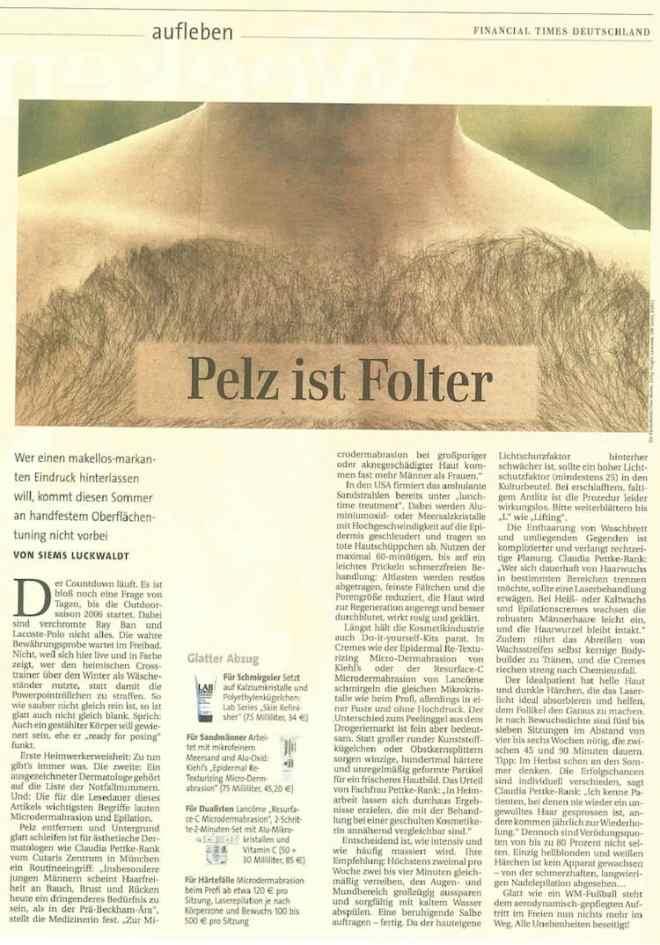 Pelz ist Folter (Siems Luckwaldt für Financial Times Deutschland)
