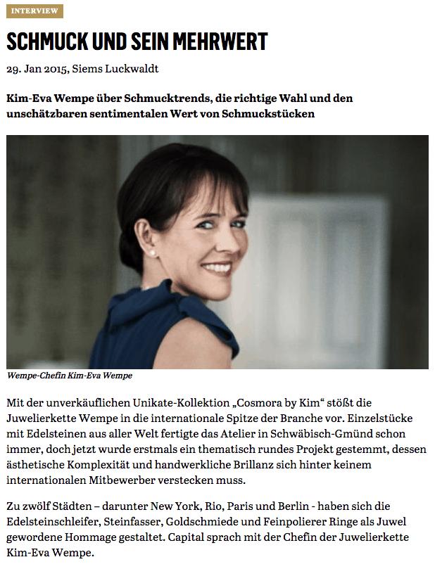 Schmuck und sein Mehrwert: Interview mit Kim-Eva Wempe (für Capital.de)