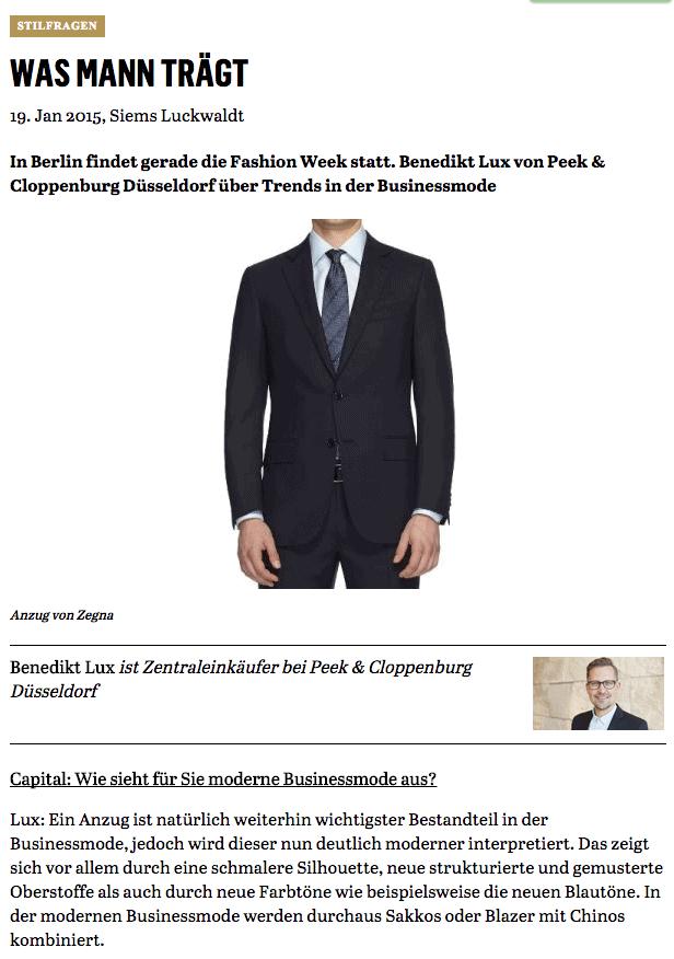 Was Mann trägt: Benedikt Lux, P&C Düsseldorf (für Capital.de)