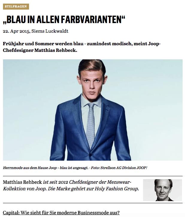 Was Mann trägt: Matthias Rehbeck, Joop! (für Capital.de)