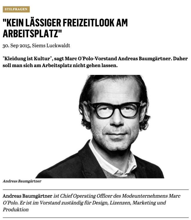 Was Mann trägt: Andreas Baumgärtner, Marc O'Polo (für Capital.de)