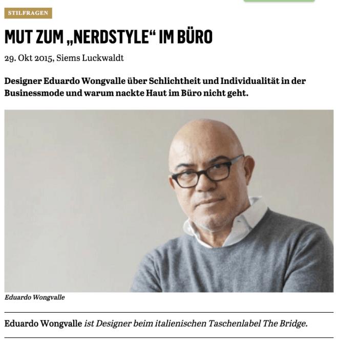 Was Mann trägt: Eduardo Wongvalle, The Bridge (für Capital.de)