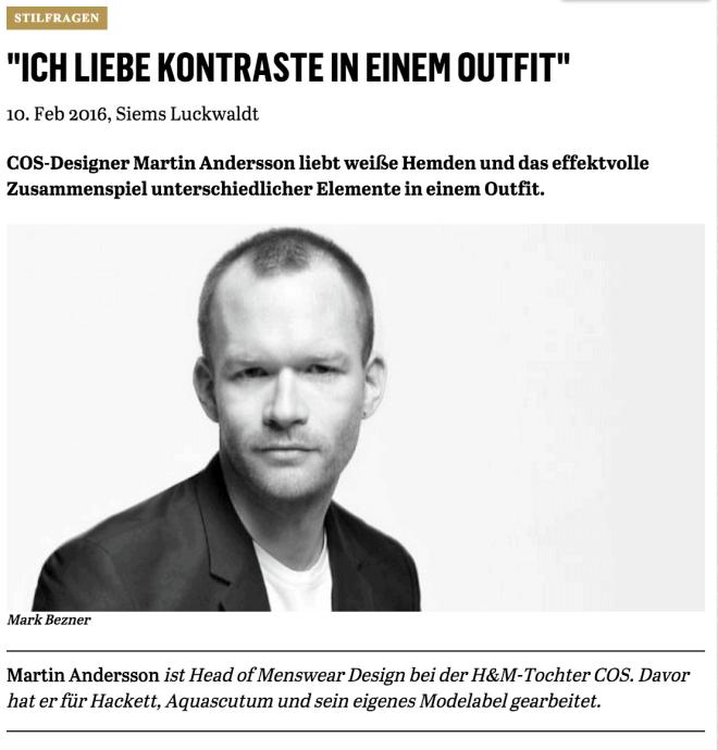 Was Mann trägt: Martin Andersson, COS (für Capital.de)